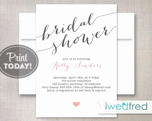 Bridal Shower Invite Template Elegant Bridal Shower Invitation Bridal Shower Invitation