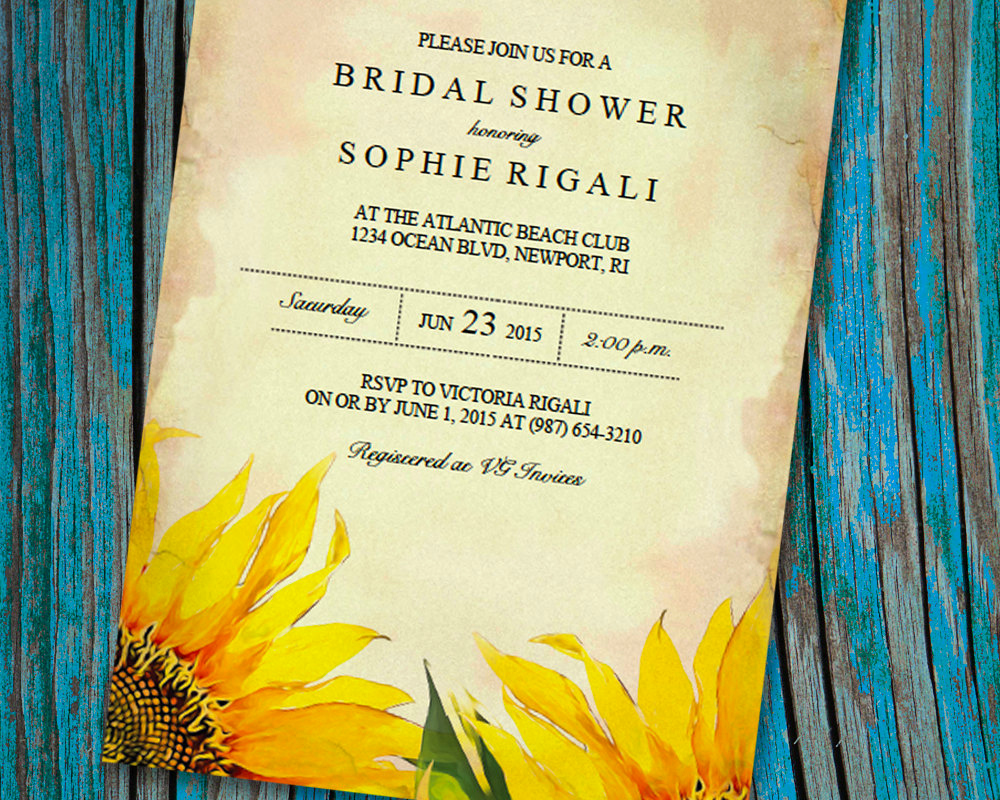 Bridal Shower Invite Template Elegant Printable Bridal Shower Invitation Template Vintage Sunflower