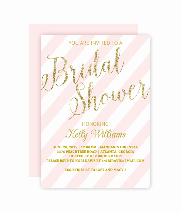 Bridal Shower Invite Template Lovely Glitter and Blush Bridal Shower Invitation Chicfetti