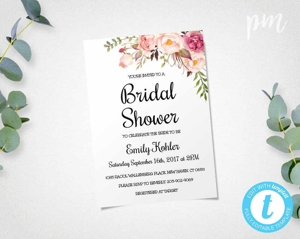 Bridal Shower Invite Template Luxury Floral Printable Bridal Shower Invitation Template Bridal