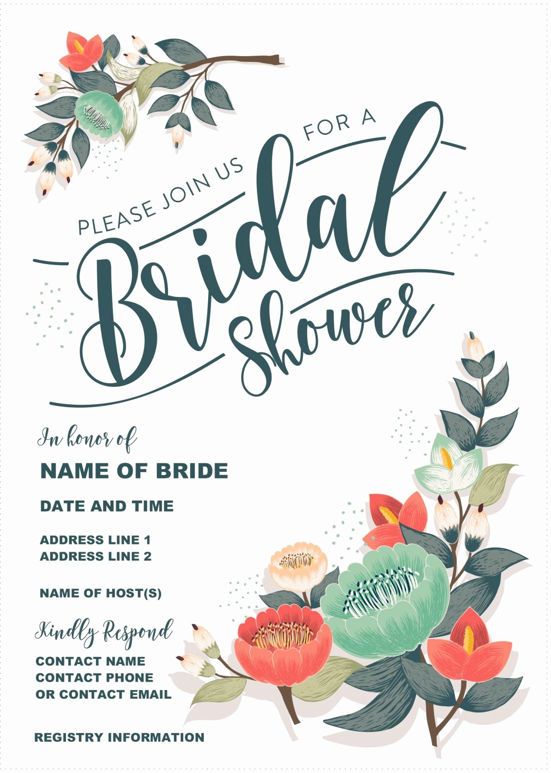 Bridal Shower Invite Template New Our Gorgeous Printable Bridal Shower Invitation is totally