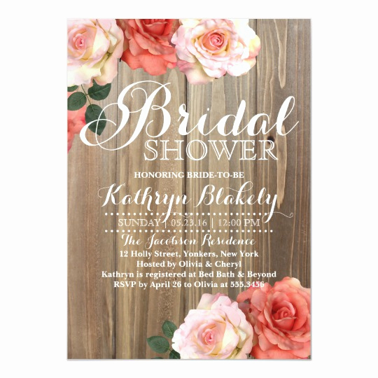 Bridal Shower Invite Template New Rustic Roses Bridal Shower Invitations