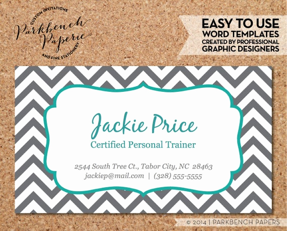 Buisness Card Templates for Word Elegant Items Similar to Business Card Template Gray Chevron
