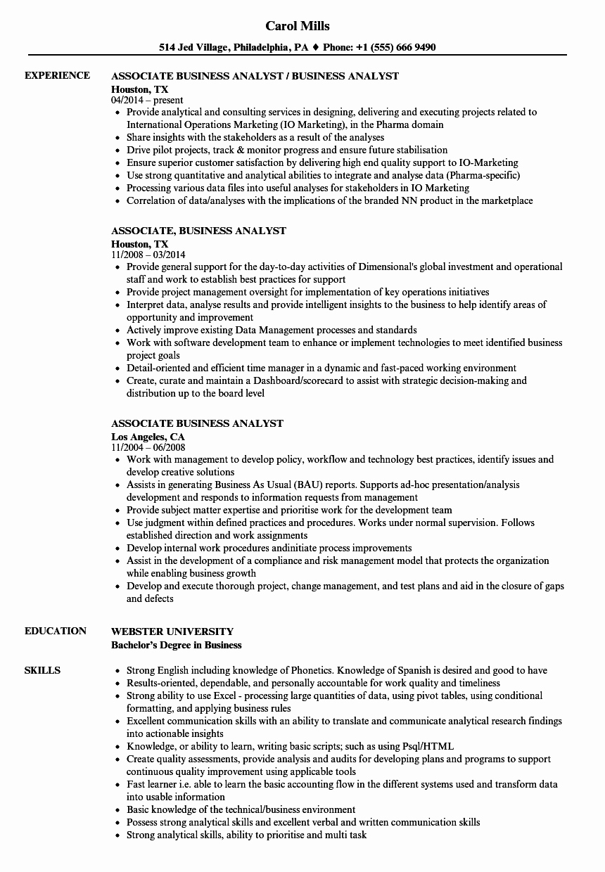 Business Analyst Resume Examples Awesome associate Business Analyst Resume Samples