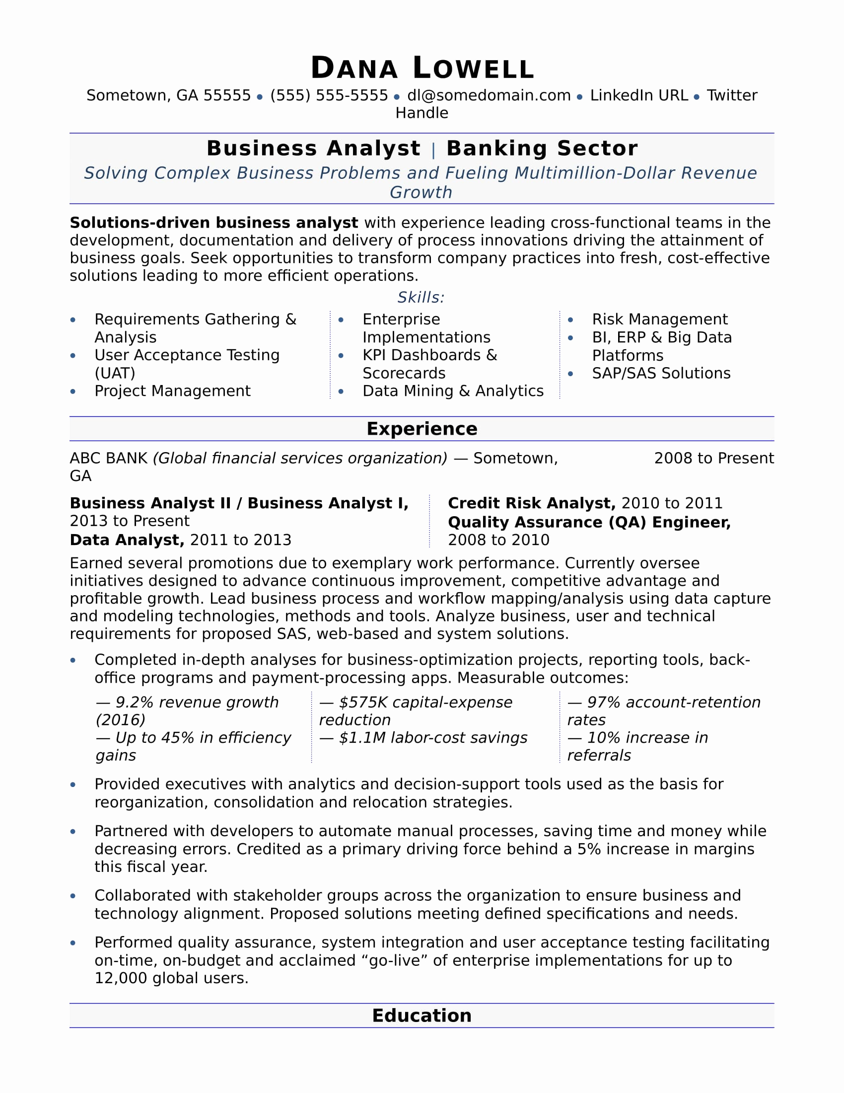 Business Analyst Resume Examples Awesome Business Analyst Resume Sample