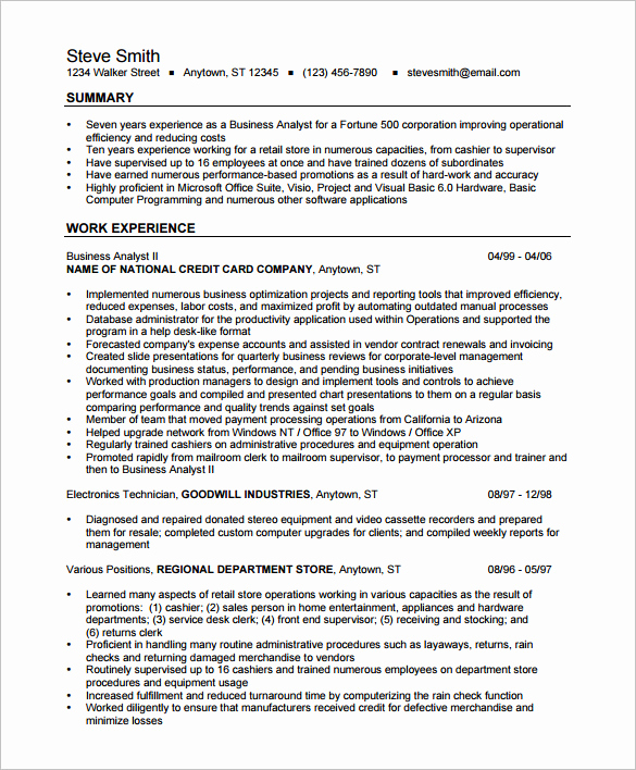 Business Analyst Resume Examples Awesome Business Analyst Resume Template – 15 Free Samples