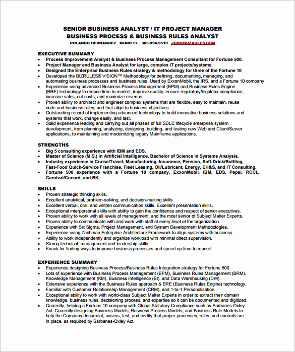 Business Analyst Resume Examples Best Of Business Analyst Resume Template – 11 Free Word Excel