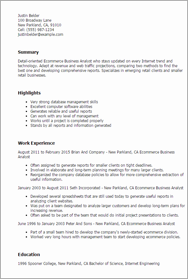 Business Analyst Resume Examples Best Of Business Resume Templates to Impress Any Employer