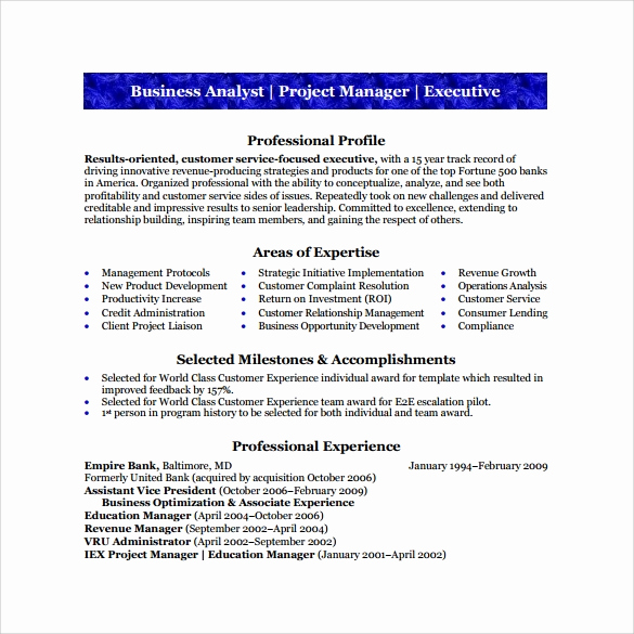 Business Analyst Resume Examples Best Of Sample Business Analyst Resume 8 Documents In Pdf Word