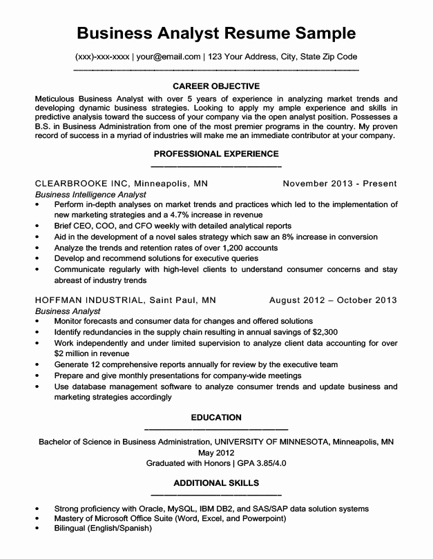 Business Analyst Resume Examples Lovely Business Analyst Resume Sample & Writing Tips