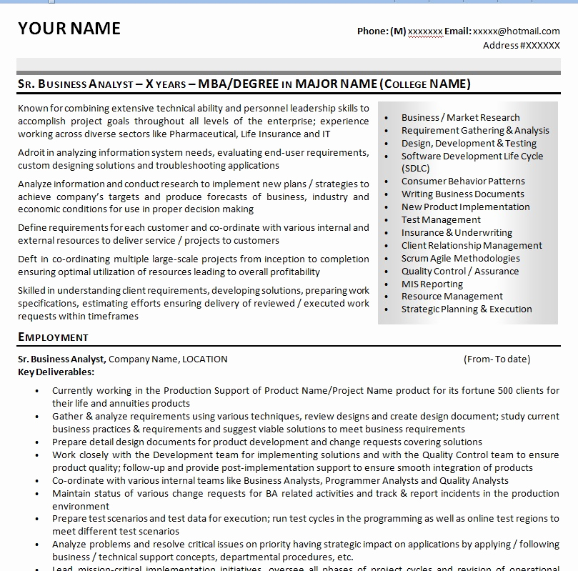 Business Analyst Resume Examples Unique Sample It Business Analyst Resume Cv