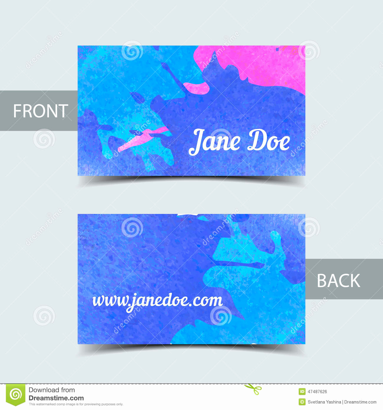 Business Card Illustrator Template Elegant Business Card Template for Watrcolor Illustrator Stock