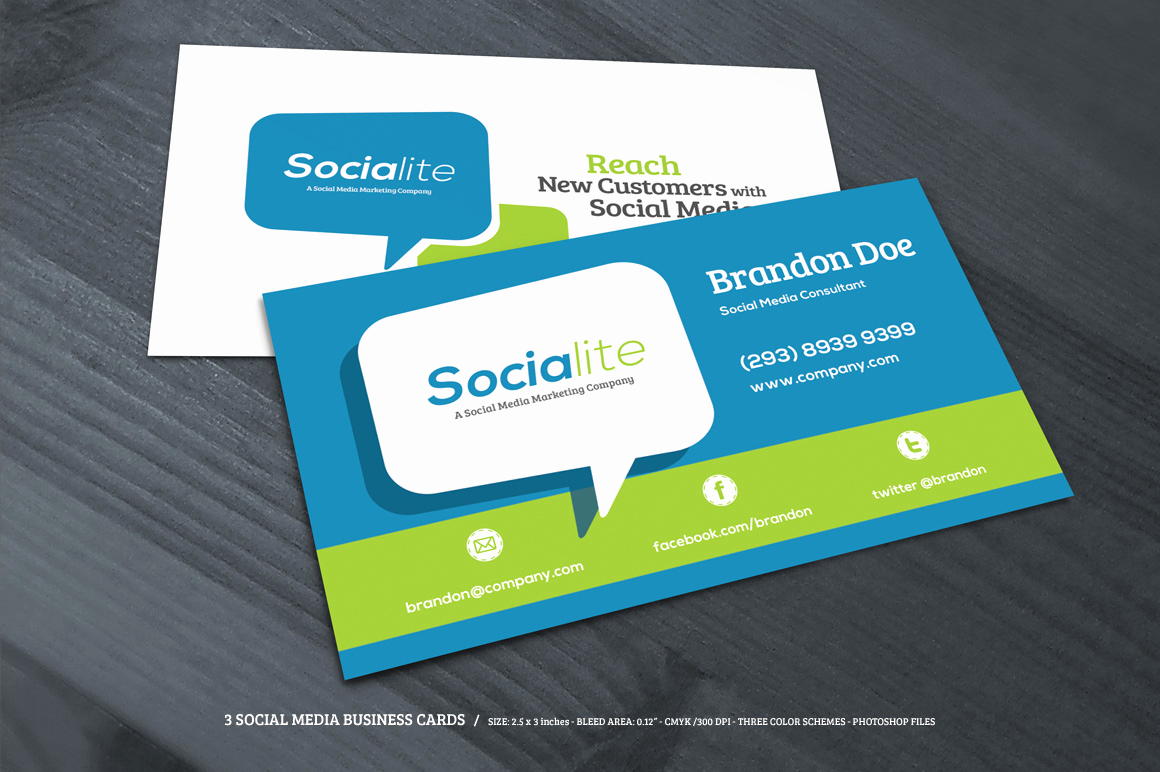 Business Card social Media Beautiful Preview 03 Creative Market 3 social Media Business Cards O