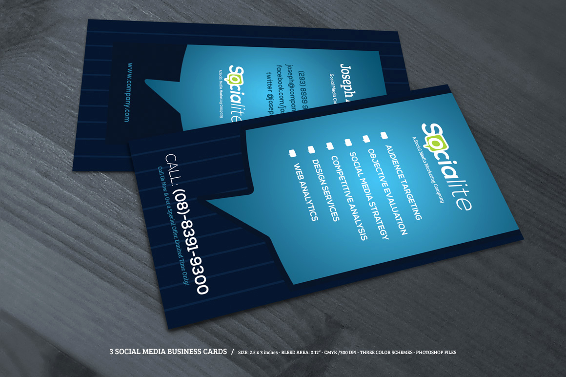 Business Card social Media Luxury Preview 02 Creative Market 3 social Media Business Cards O