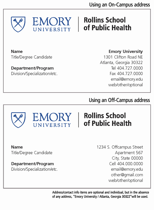 Business Cards for Students Best Of Rollins School Of Public Health