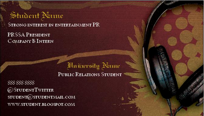 Business Cards for Students New social Media & Public Relations Business Cards for Pr