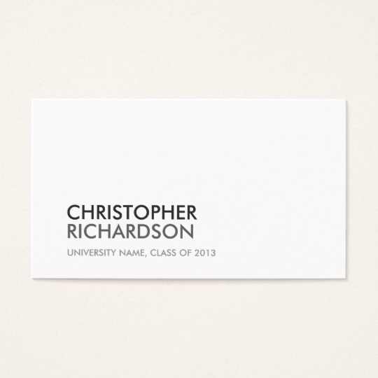 Business Cards for Students New University College Student White Business Card