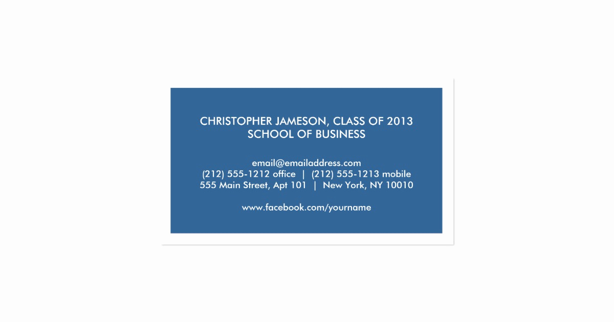 Business Cards for Students Unique Modern Blue Business Card for College Students