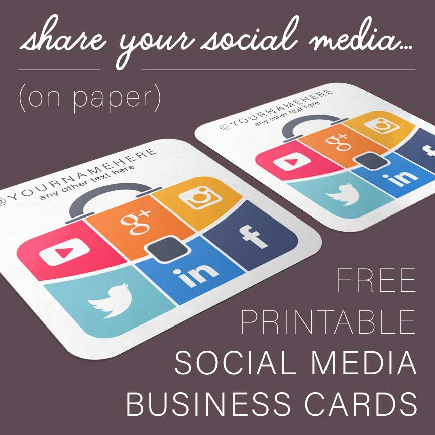 Business Cards with social Media Beautiful Suitcase social Media Business Cards Free Printables Line