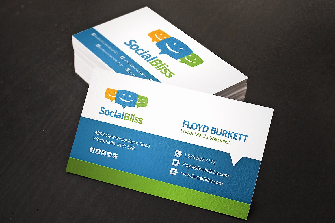 Business Cards with social Media Elegant social Media Business Card Business Card Templates