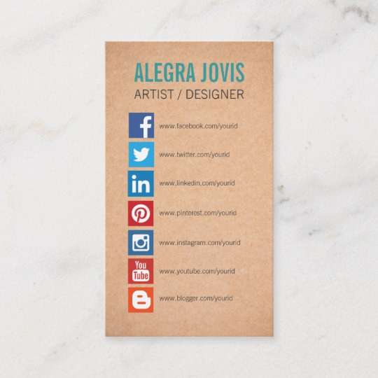 Business Cards with social Media Elegant social Media Icons Symbols Business Card
