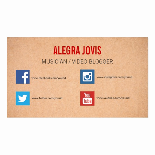 Business Cards with social Media Elegant social Media Musician You Tube Business Card