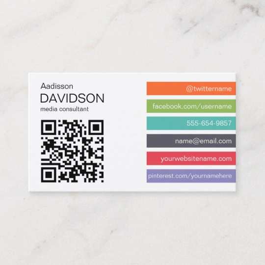 Business Cards with social Media Inspirational Bright Bar Qr Code social Media Business Card