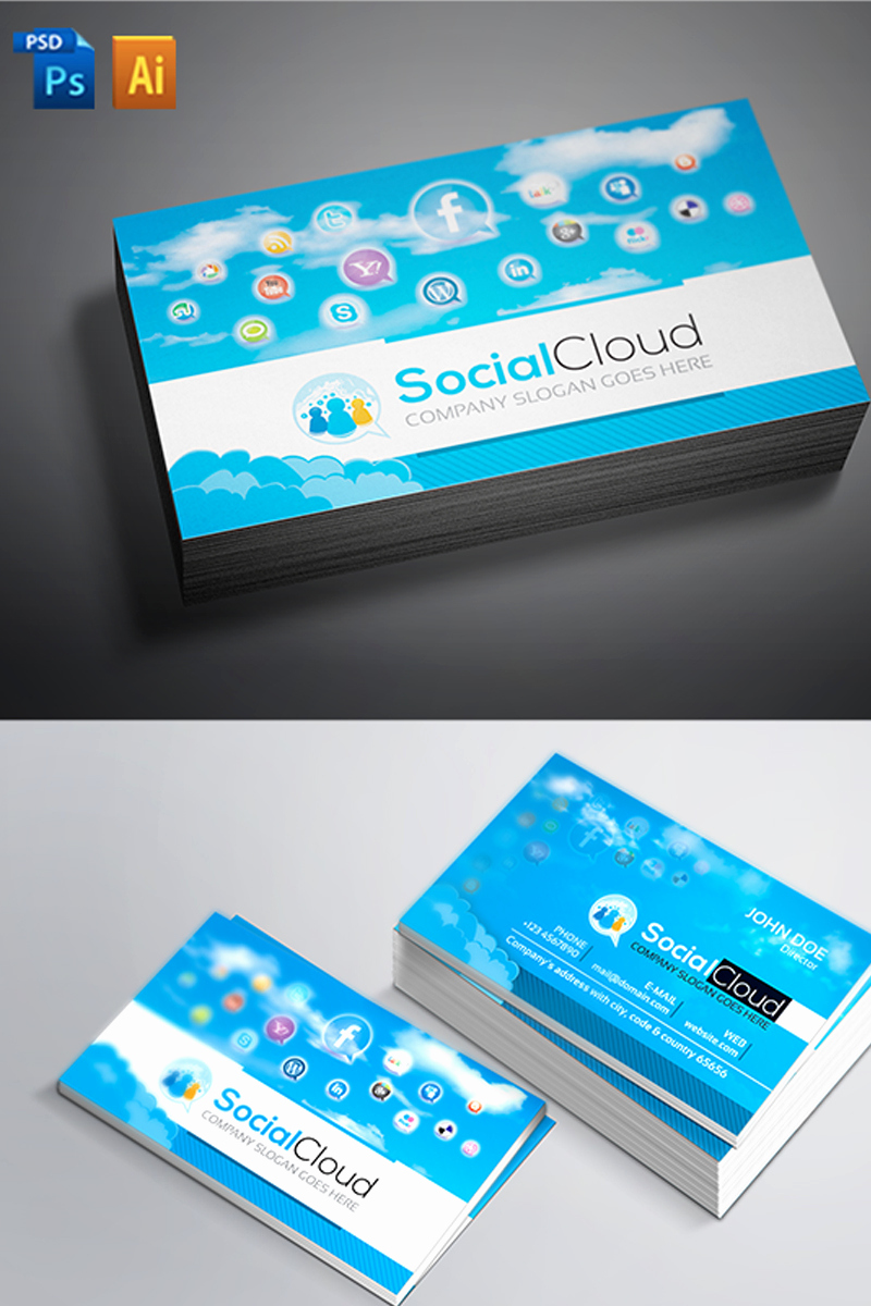 Business Cards with social Media Inspirational social Media Business Card Corporate Identity Template