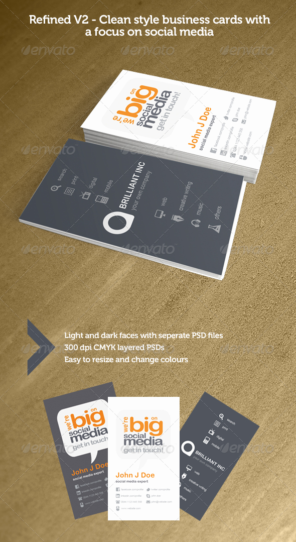 Business Cards with social Media Unique Refined V2 social Media Business Cards by ather