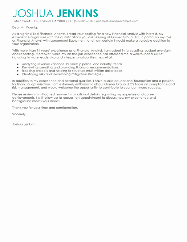 Business Cover Letter format Luxury Best Business Cover Letter Examples Livecareer