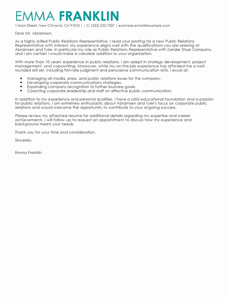 Business Cover Letter format New Best Public Relations Cover Letter Examples