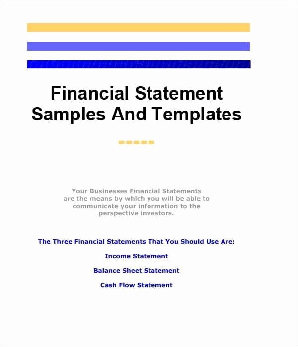 Business Financial Statement Template Awesome 8 Free Financial Statement Templates Word Excel Sheet Pdf