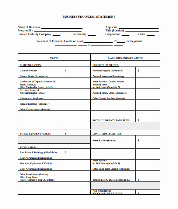 Business Financial Statement Template Awesome Sample Business Financial Statement form 6 Download