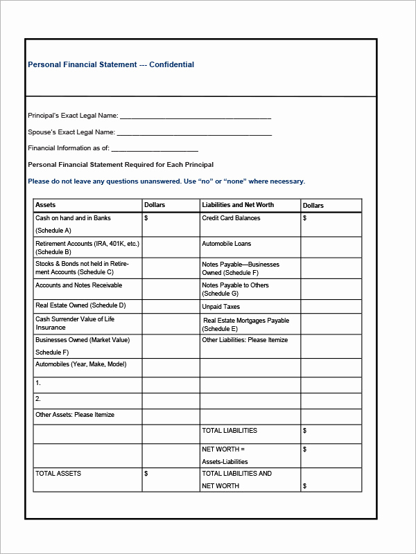 Business Financial Statement Template New 6 Financial Statement Samples