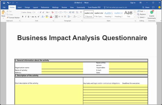 Business Impact Analysis Template Fresh iso Business Impact Analysis Bia toolkit