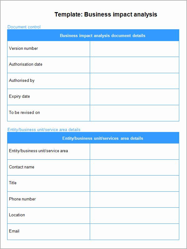 Business Impact Analysis Template Inspirational Business Impact Analysis 6 Free Pdf Doc Download