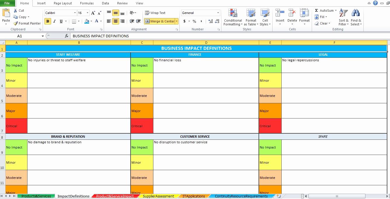 Business Impact Analysis Template Inspirational Business Impact Analysis Template Excel Excel Tmp