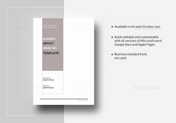 Business Impact Analysis Template Luxury Business Impact Analysis 7 Documents In Word Pdf