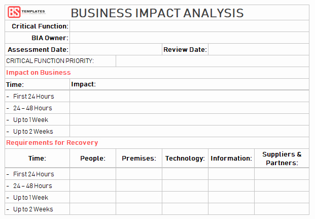 Business Impact Analysis Template Luxury Business Impact Analysis [bia] Steps Excel Templates