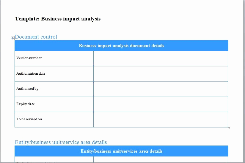 Business Impact Analysis Template Unique Business Impact Analysis Template