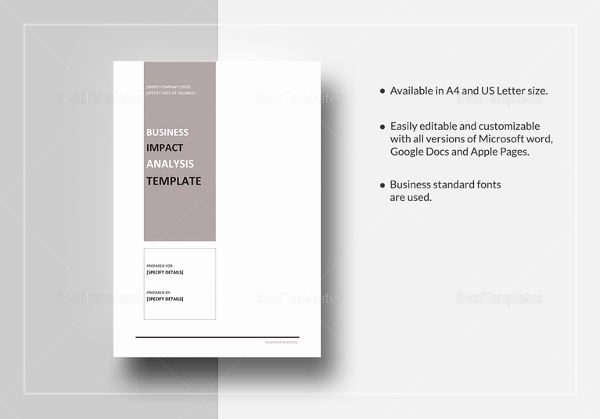 Business Impact Analysis Template Unique Business Impact Analysis Templates – 9 Free Word Pdf