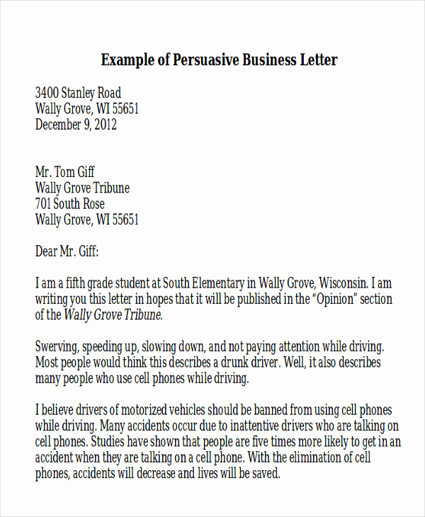 Business Letter Example for Students Elegant Sample Persuasive Business Letter 7 Examples In Word Pdf