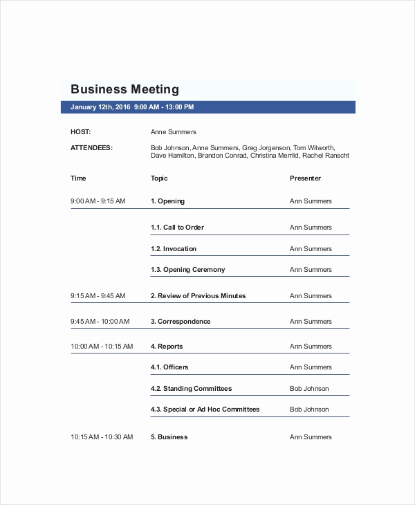 Business Meeting Agenda Template Awesome 10 Business Meeting Agenda Templates – Free Sample