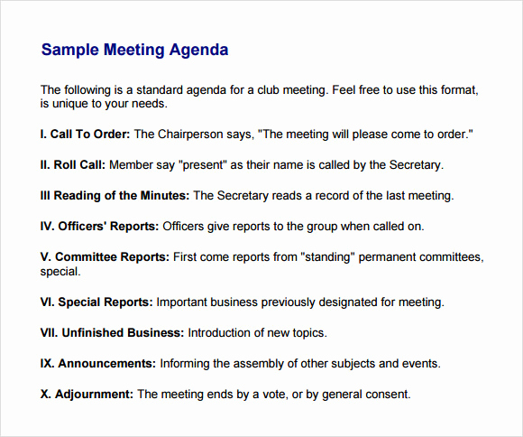 Business Meeting Agenda Template Awesome Business Meeting Agenda Template 5 Download Free