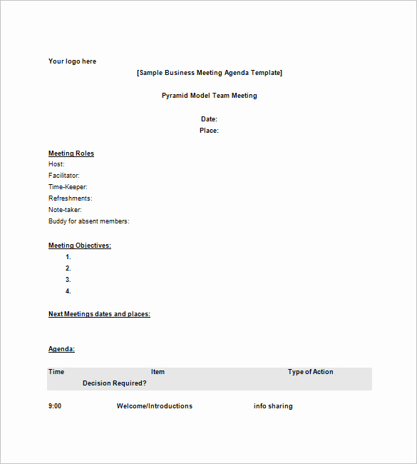 Business Meeting Agenda Template Fresh 8 Business Agenda Templates Free Sample Example