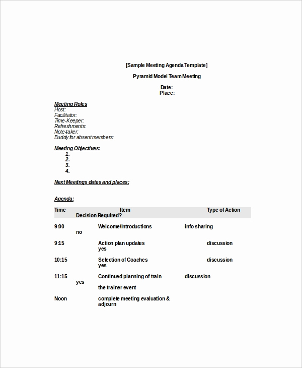 Business Meeting Agenda Template New 10 Business Meeting Agenda Templates – Free Sample