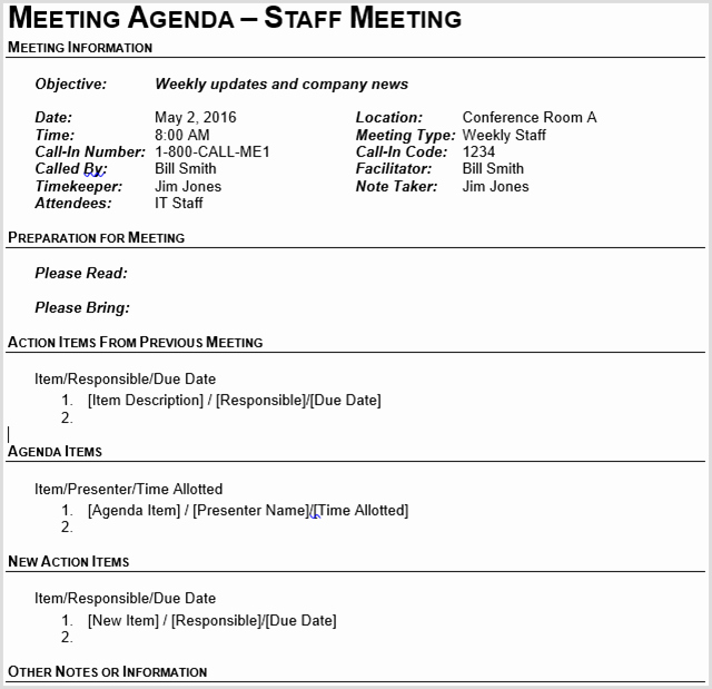 Business Meeting Agenda Template New 15 Best Meeting Agenda Templates for Word