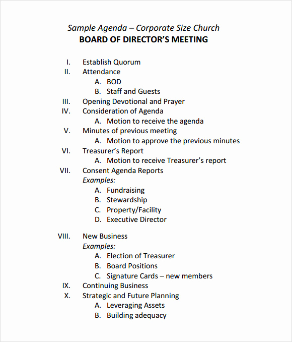 Business Meeting Agenda Template New Sample Board Meeting Agenda Template 11 Free Documents