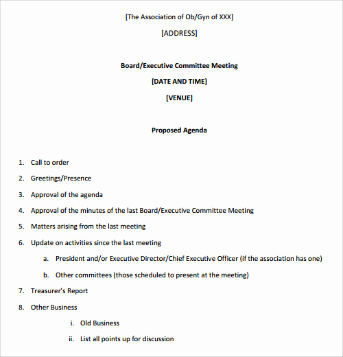 Business Meeting Agenda Template Unique Sample Agenda Template 41 Download Free Documents In