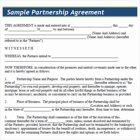Business Partnership Agreement Template Best Of 8 Sample Partnership Agreements